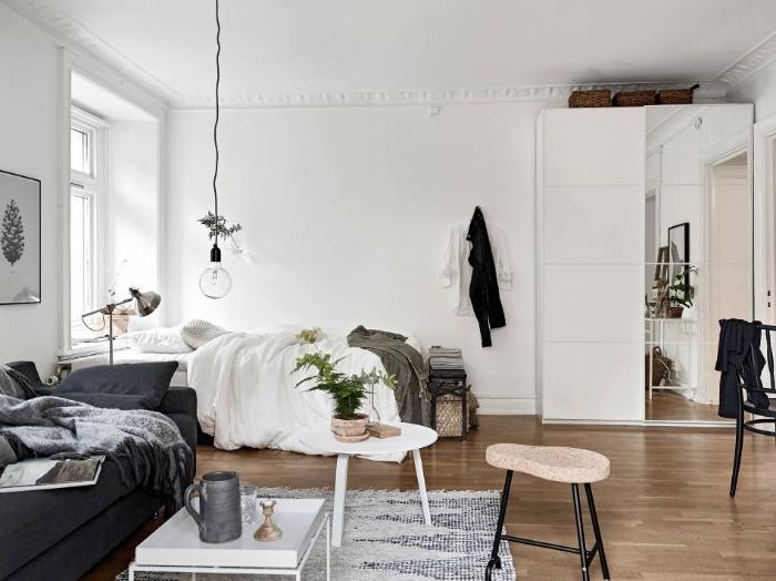 amenagement studio 20 m2 ave canapé gris lit cocooning sol parquet clair murs blancs intérieur scandinave