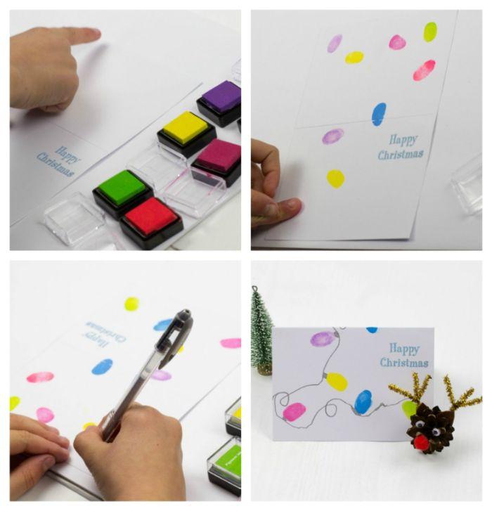 carte de noel a fabriquer facile avec guirlande lumineuse colorée de lumières colorées bricolage pour tout petit