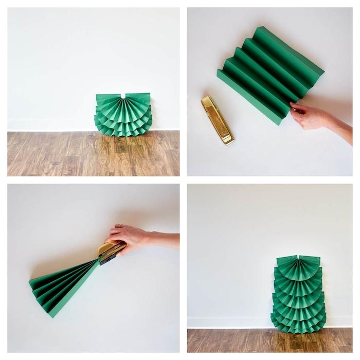 comment faire un sapin en papier avec des feuilles vertes aggraffees