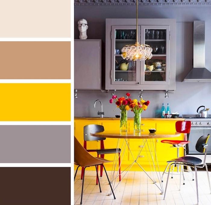 couleur de l année pantone 2021 une cuisine avec des murs et placards gris une chaise rouge et des details jauns