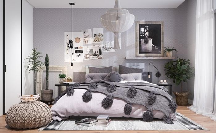 couleurs neutres couverture de lit pompons gris chambre parentale cosy pouf crochet mur affiches
