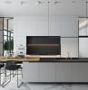 crédence gris anthracite mate éclairage led armoires sans poignées cuisine ilot central moderne blanc et noir mat