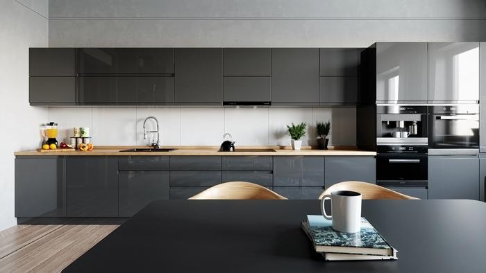 cuisine contemporaine décoration bois et noir mat plan de travail bois crédence blanc revêtement sol aspect bois carrelage