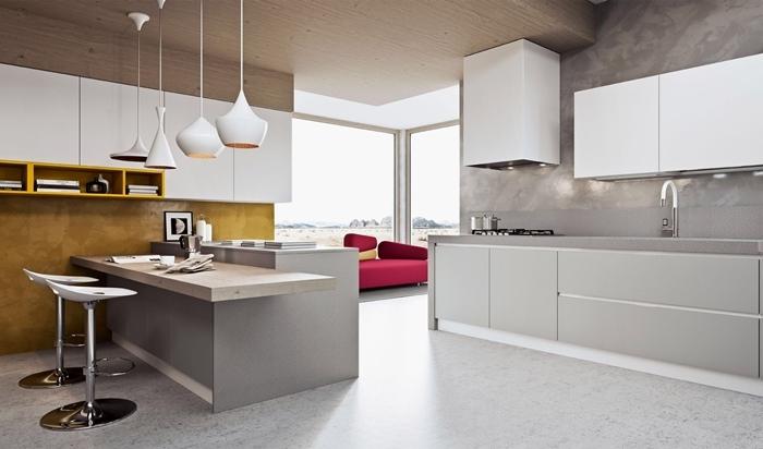 cuisine de luxe crédence carrelage gris meubles haut blanc meubles bas gris clair design cuisine blanc et gris