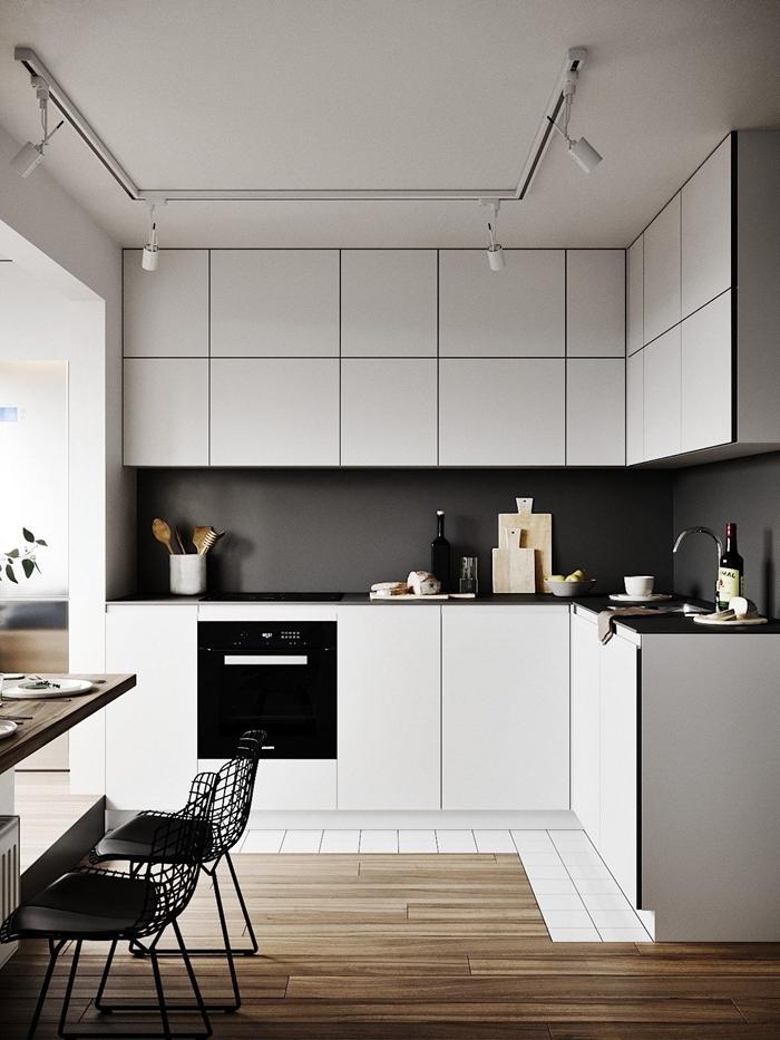 cuisine de luxe décoration intérieure agencement cuisine ouverte petite cuisine blanc et noir crédence gris anthracite mat
