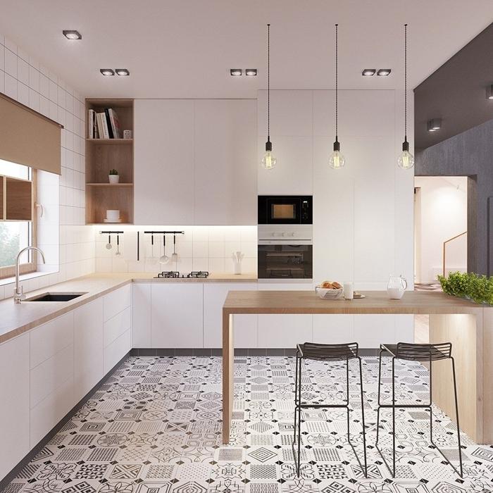 cuisine en l avec ilot central carrelage motifs carreaux de ciment table repas îlot bois plan de travail rangement ouvert