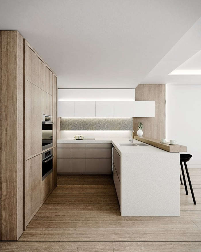 cuisine en u avec ilot aménagement cuisine ouverte carrelage sol aspect bois crédence blanche éclairage led