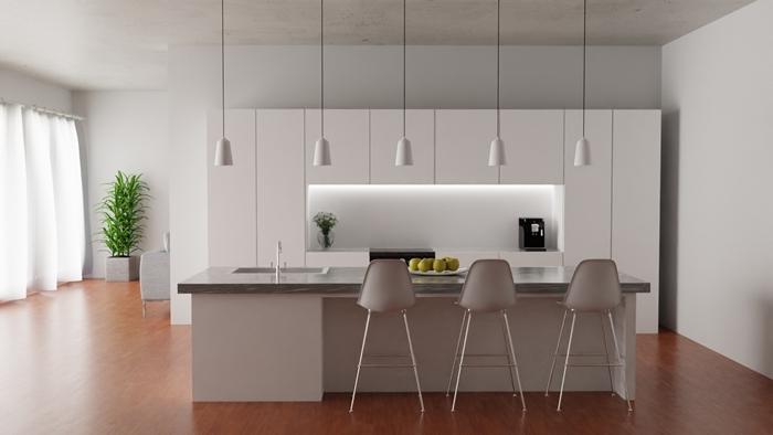 cuisine ilot central moderne design intérieur décoration cuisine blanche lampe suspendue crédence éclairage