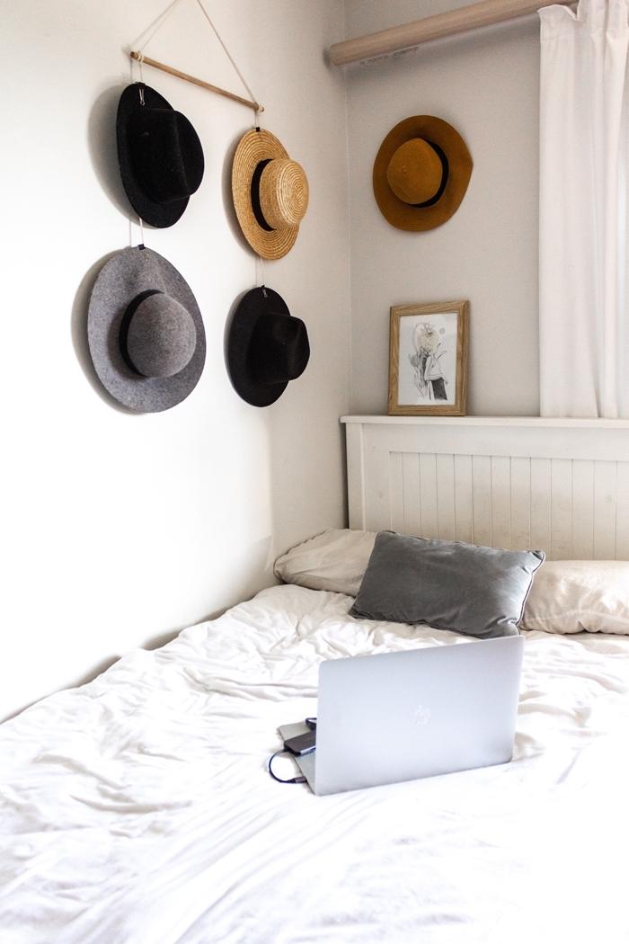 déco petite chambre bohème style diy déco chambre suspension murale boho chic chapeaux sur mur