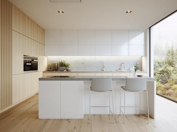 décoration cuisine blanc et bois éclairage plafond spots led cuisine ilot central moderne bar îlot chaises gris blanc