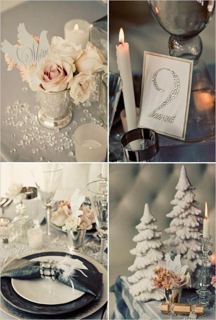 deco reveillon nouvel an a faire avec des petits sapins decoratifs des roses et des cristaux faux decoration stylisee