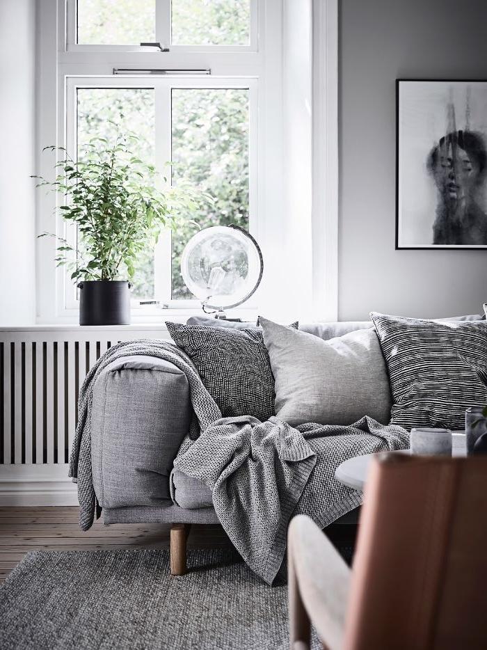 deco salon gris et blanc canapé et tapis gris cosy murs blancs plante verte en pot espace cocooning