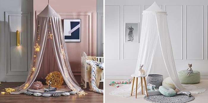 decoration chambre bebe style minimaliste pouf vert pastel ciel lit rose poudre