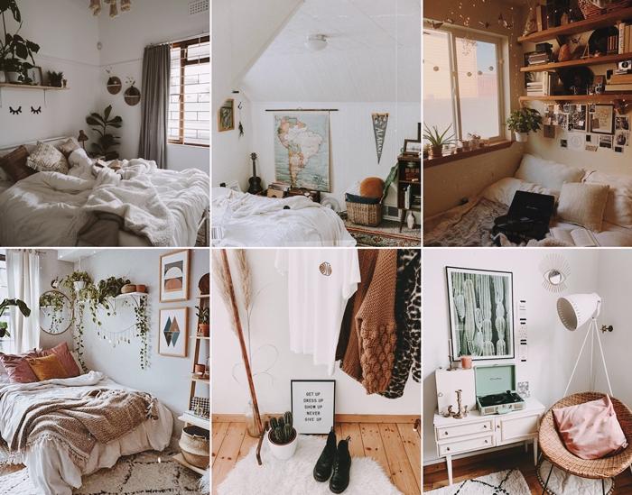 decoration interieure tendance amenagement chambre aethetic meubles rotin tapis moelleux blanc