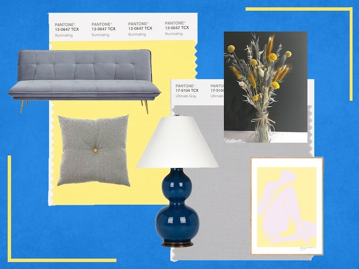 des differents meubles dans les couleurs de l anée par pantone un canape et coussin gris et tableaux aux element jaunes