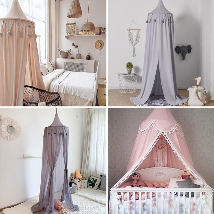 design interieur accessoire chambre bebe ciel de lit ornements pompons et glands