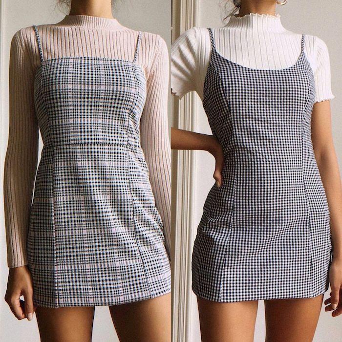 deux robes courtes en pepite et carreaux combines avec blouses tricotes vetement femme tendance