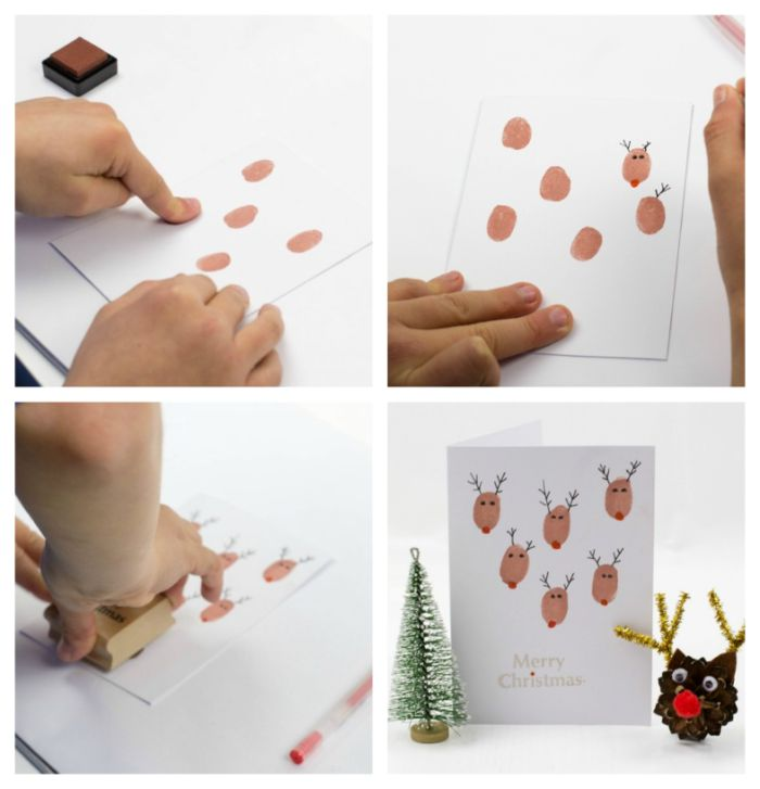 exemple carte de noel a fabriquer facile en empreintes de doigt de peinture marron nez rouge des yeux et des bois noirs