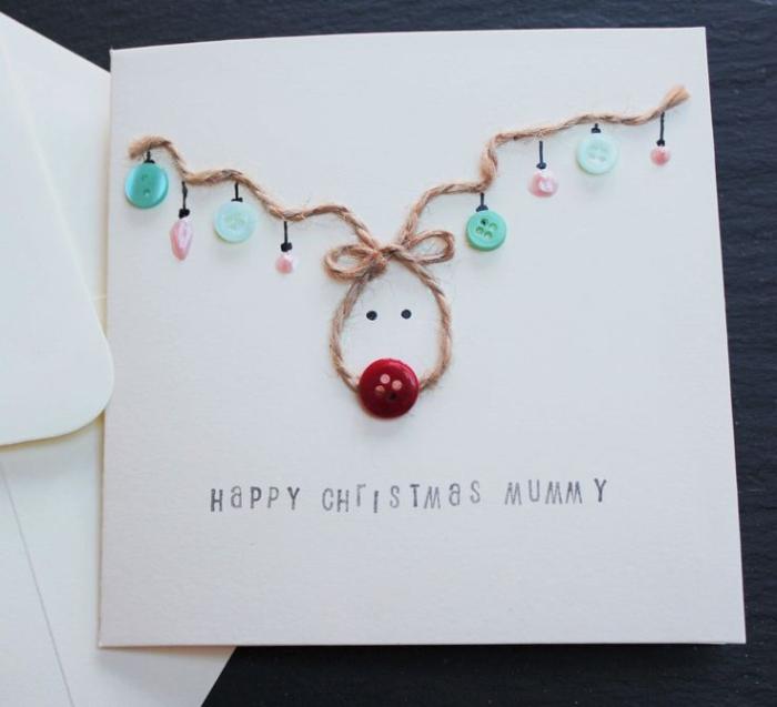 exemple de carte de noel a fabriquer rudolphe le renne au nez rouge avec décoration de boutons et petits strass colorés