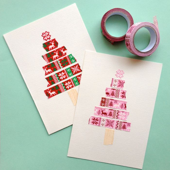 exemple de carte de noel en bandes de washi tape de couleur rose avec étoile rose en top et souche wahi tape beige