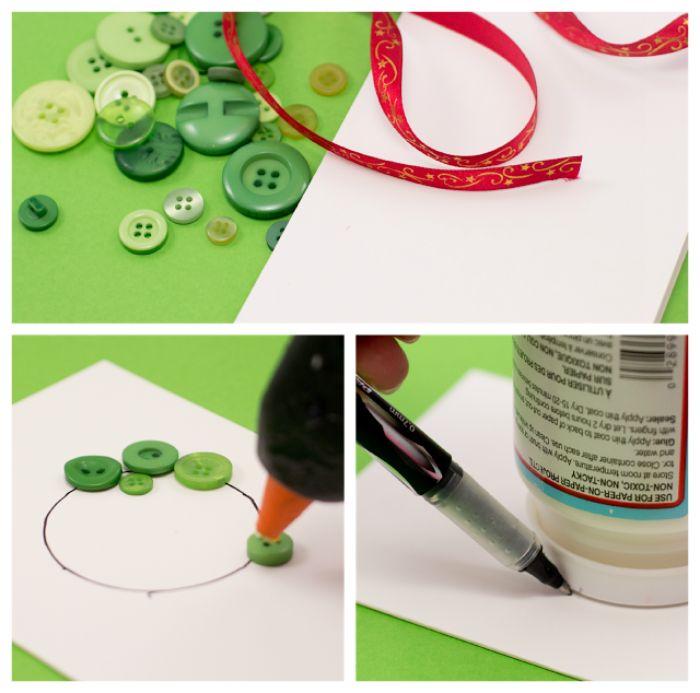 fabriquer une couronne de noel en boutosn verts et ruban sur bout de papier pour carte idée carte de voeux noel