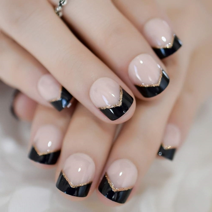 french manucure couleur ongles courts gel technique dessin facile trait vernis glitter or base nude