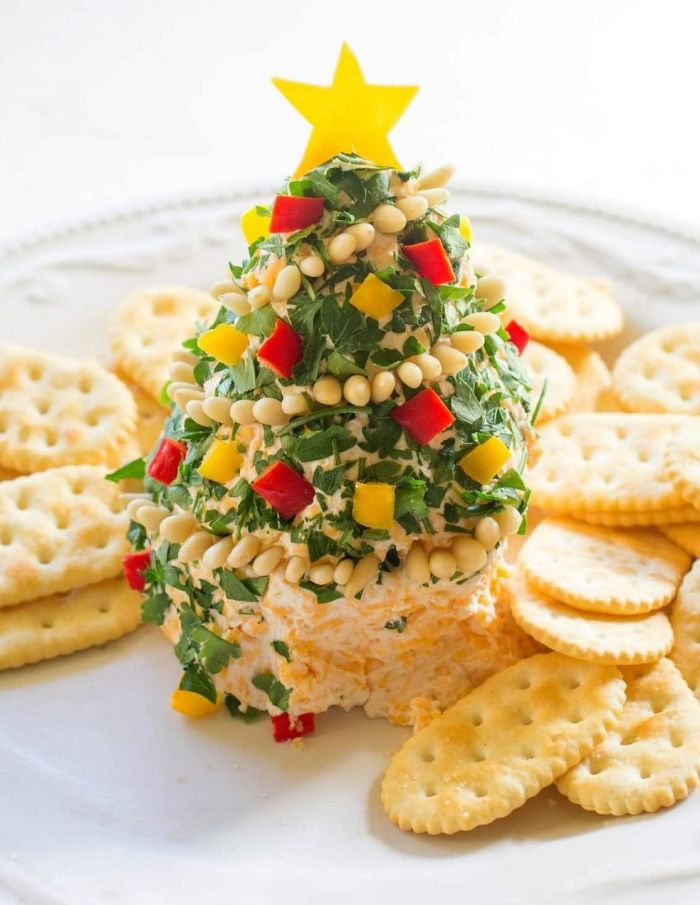 gouter recette salée de noel sapin de noel au fromage et persil avec biscuits salées idée repas entrée noel
