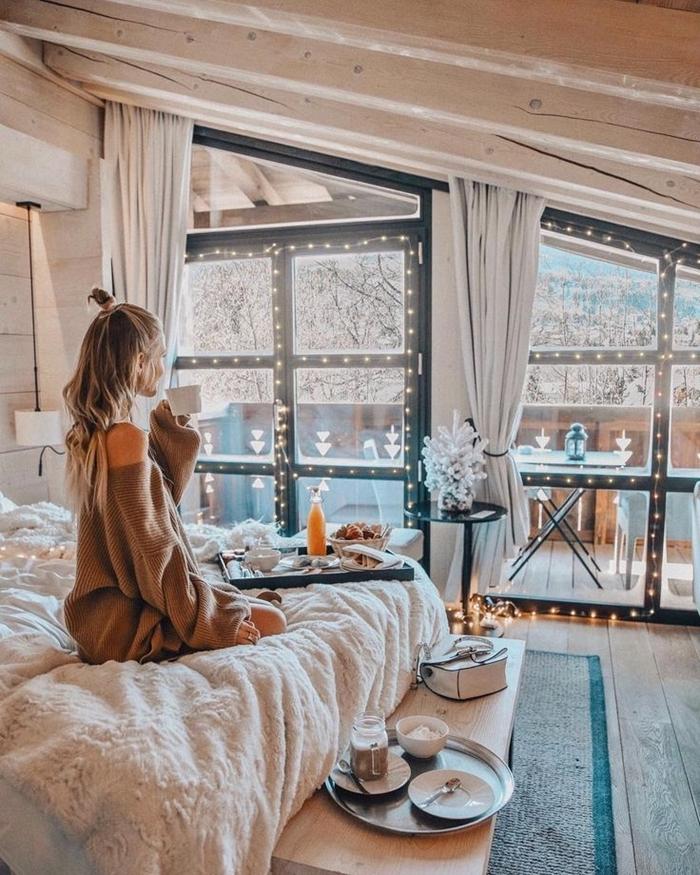 gros pull oversize robe d interieur tunique beige déco sous combles chambre cocooning style scandinave