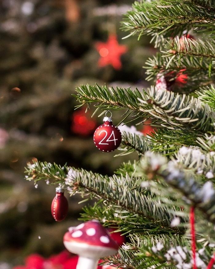 idée sapin de noel branches enneigées boule de noel rouge chiffre blanche déco nature couleurs tendance