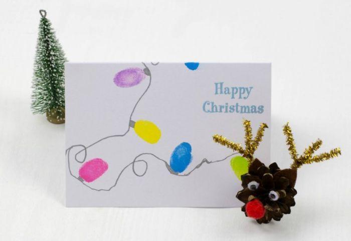 idee carte de noel a fabriquer avec des empreintes de doigt et fil argenté message joyeux noel idée de carte de noel diy originale et facile