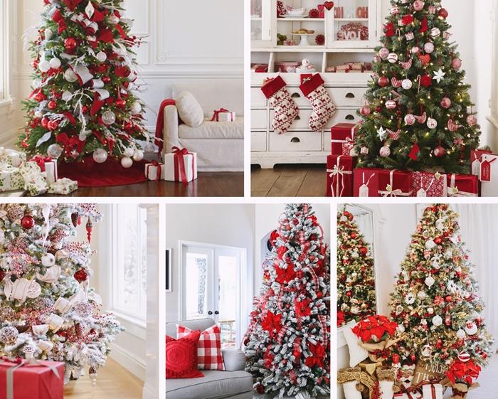 idee comment decorer un arbre de noel sur theme blanc et rouge boules noel papillon noeud rouge