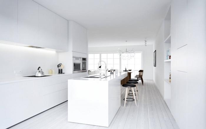idee cuisine avec ilot design intérieur style minimaliste crédence cuisine minimaliste plande travail blanc