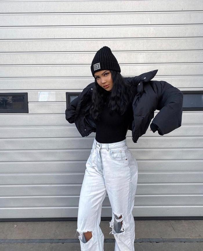jeans troués oversize style américain femme pull noir bomber femme noir bonnet crochet