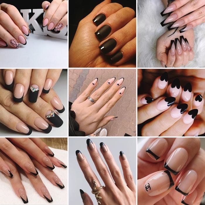 manucure francaise vernis pointes ongles noir mat technique ongles longs maison nail art tendances 2020