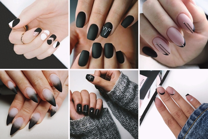 manucure ongles en gel finition mate noir vernis technique style minimaliste ongles vernis de base rose pastel piercing ongle