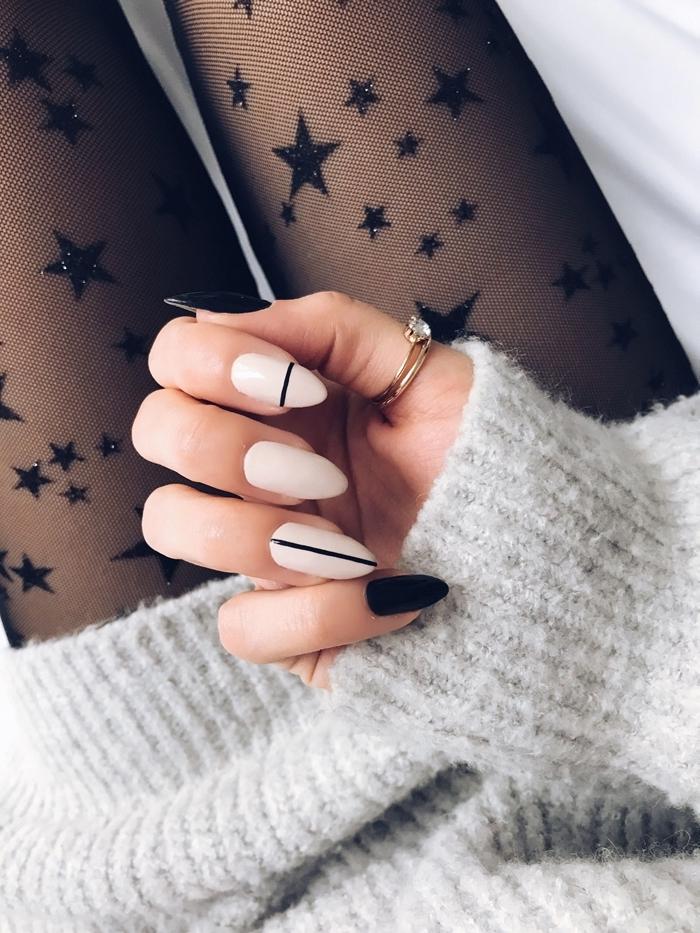 manucure style minimaliste nail art ongle long vernis couleur foncée noire dessin trait ligne noire