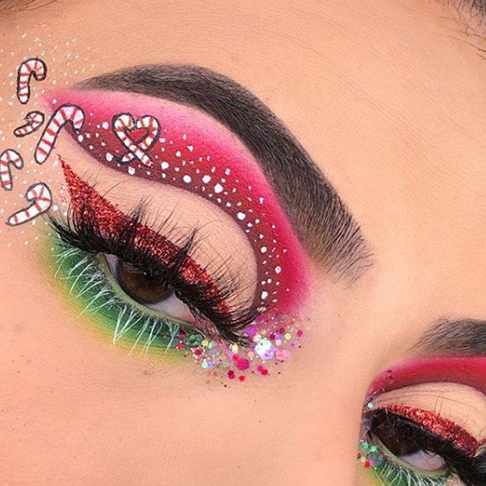 maquillage de noel avec des sucres d orge dessinées et des cristaux colles autour des yeux