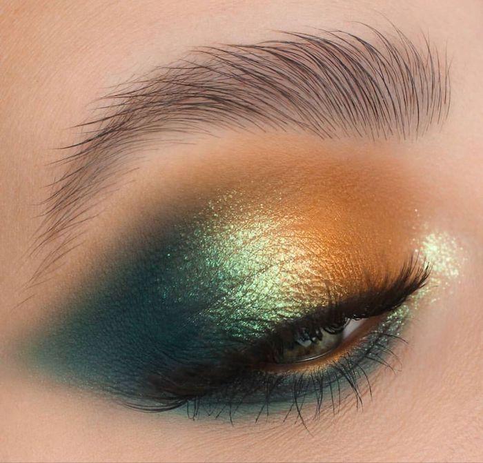 maquillage des yeux marrons avec des fards a paupieres en deux couleurs metalliques