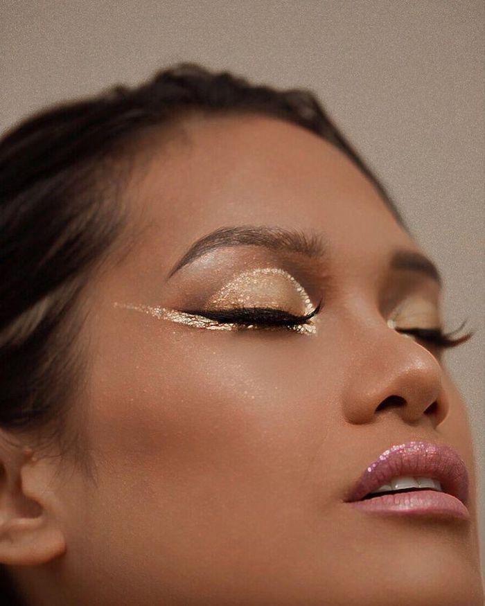 maquillage yeux marrons avec un eye liner doree et des fards a paupieres bronze un rouge a levre neutre