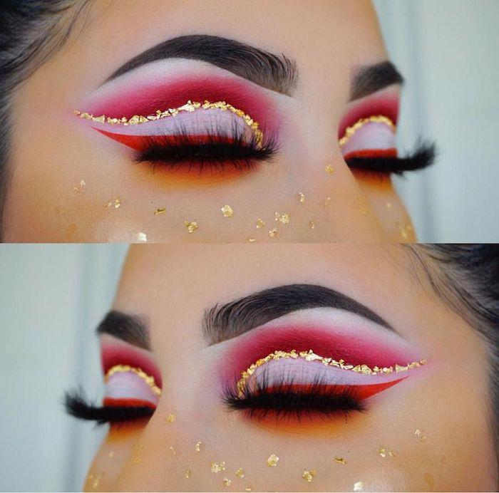maquillage yeux simple avec deux couleurs de fards a paupieres et des cristaux colles autour des yeux
