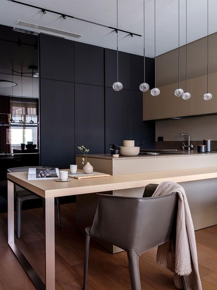 meubles haut beige crédence couleur taupe cuisine en l avec ilot central design petite cuisine moderne îlot table repas