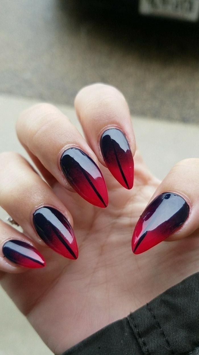 ongle rouge et noir manucure originale technique ongles ombré longs gel dessin trait noir facile