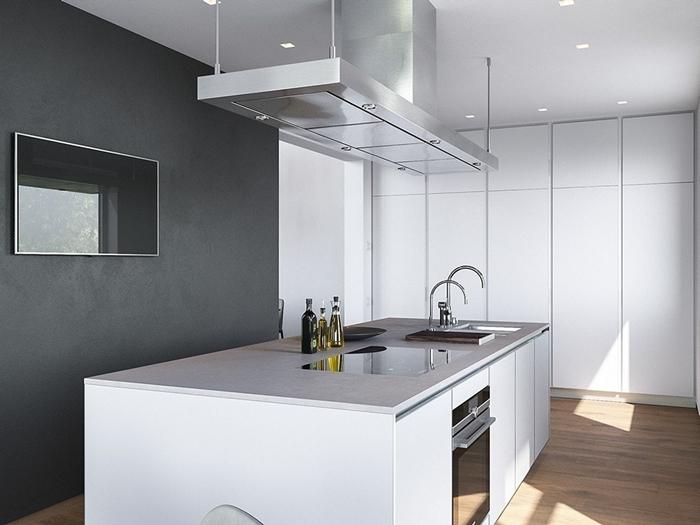 parquet bois armoires mecanisme ouverture idee cuisine avec ilot déco cuisine blanc et gris avec accents bois