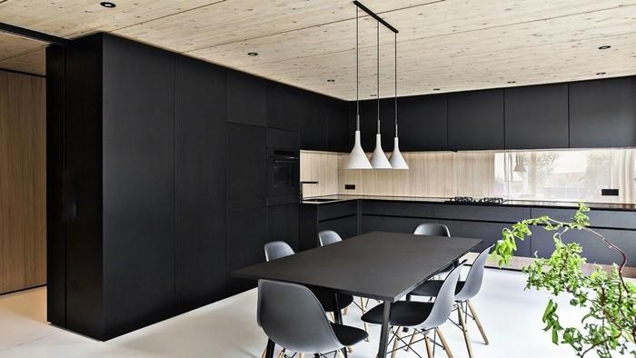 plafond bois spots led armoires noir mat cuisine équipée bois table à manger noir mat plantes vertes