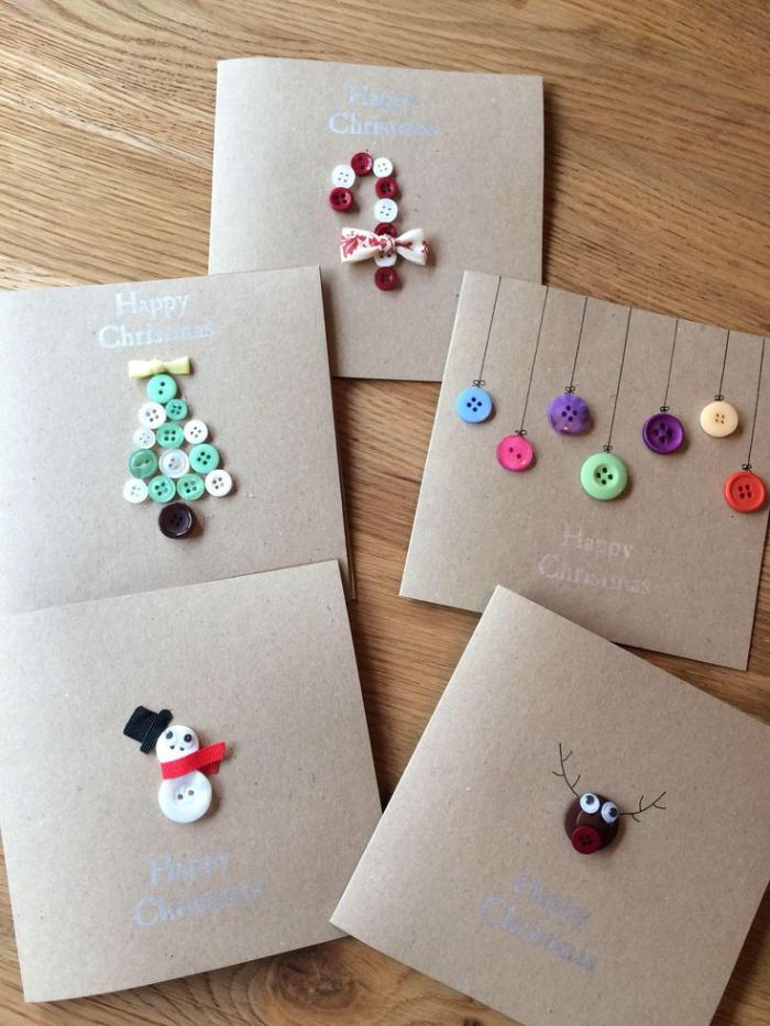 plusieurs idees de carte de noel diy avec des boutons colorés motif boule de noel sapin canne de sucre bricolage pour tout petit