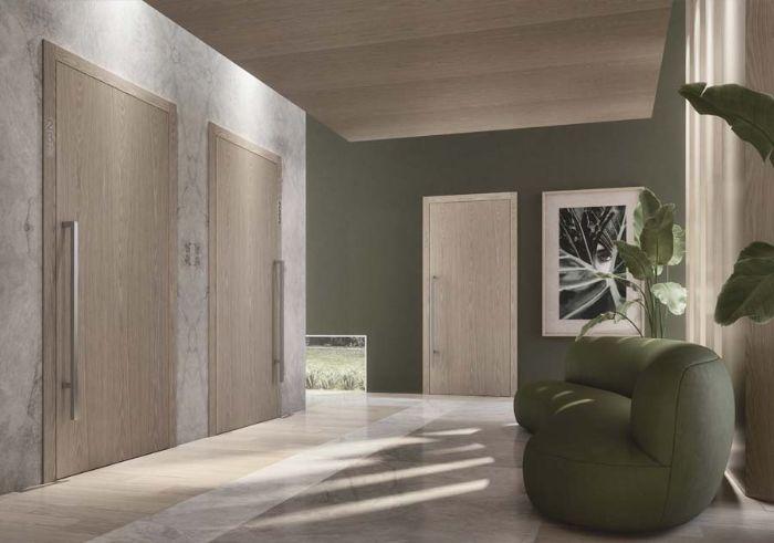 porte en bois clair sol en vert pale sol en bois clair