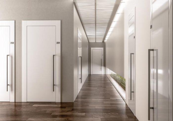 portes pour batiment public portes blanches grand couloir