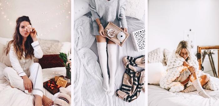 pyjama hiver femme ensemble blanc chaussette genoux pull oversize gris plaid grosse maille echarpe franges vetements interieur