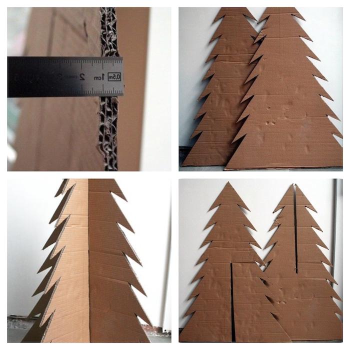 sapin de noel en carton comment faire etape par etape un regle et deux parties en carton