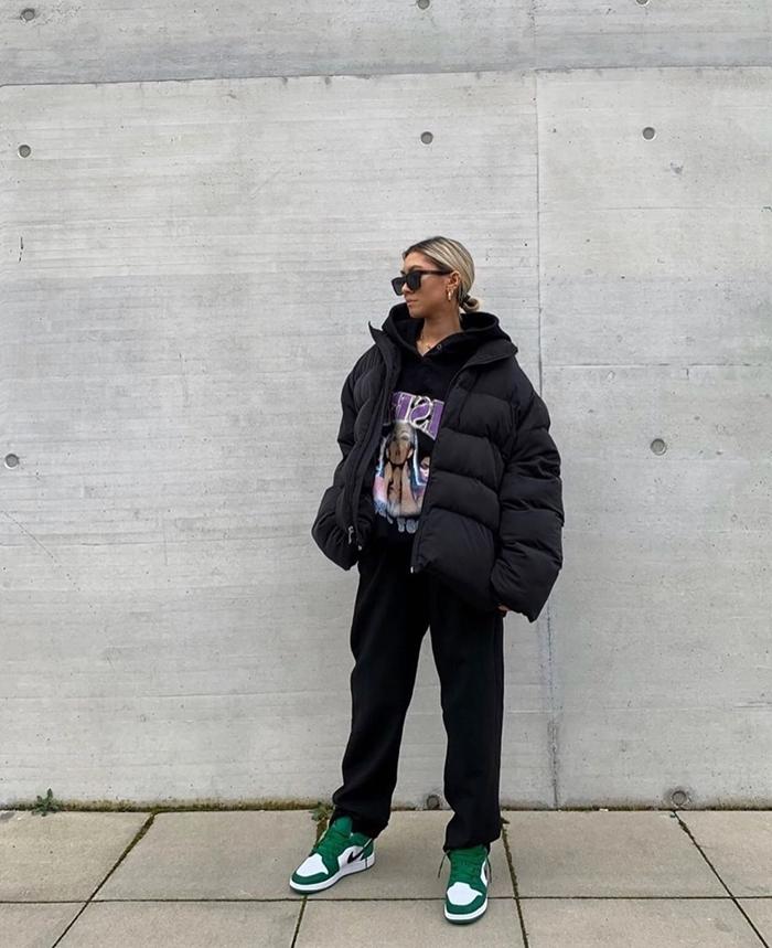 sweat streetwear chaussures baskets blanc et vert vêtements noir sweat capuche veste oversize